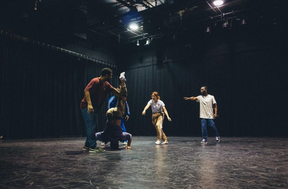 Street dancers rehearse on stage