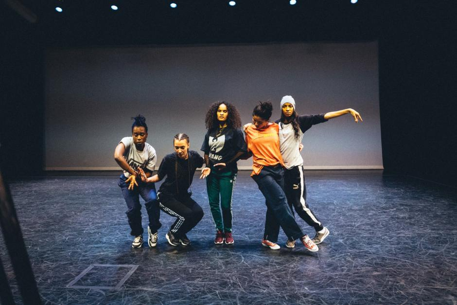 Street Dancers pose on stage