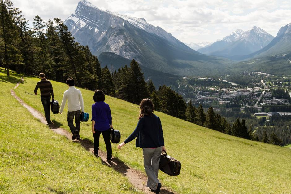 String quartet walking on Mt. Norquay, Banff, AB