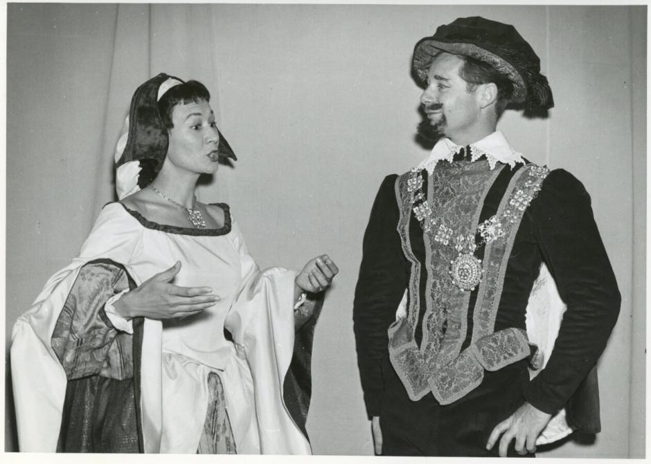 "Photograph of Irene Prothroe as Beatrice in the 1958 Banff Centre production of ""Much Ado About Nothing"""