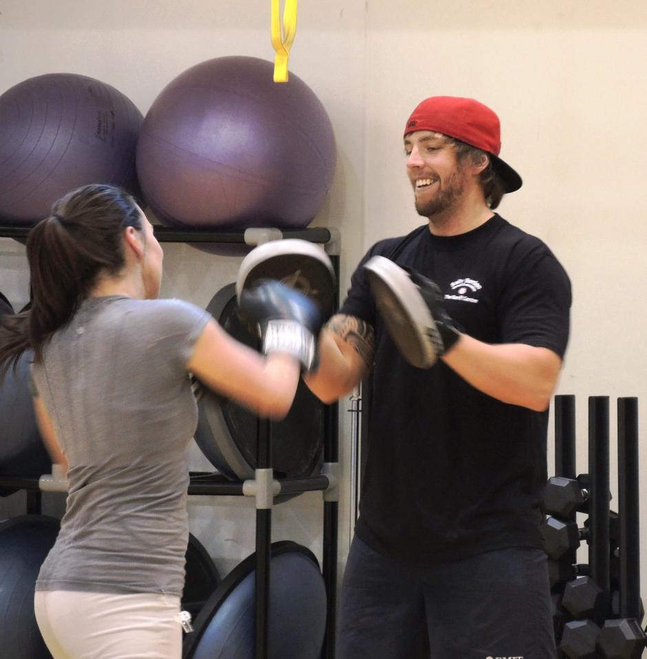 Bootcamp image - Trainer and participant - Sally Borden Fitness and Recreation