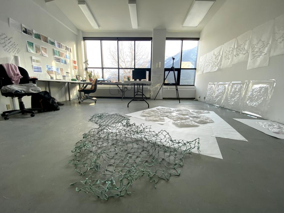 Studio Wide View of Eloise Plamondon-Page's Banff Centre Studio, 2020.