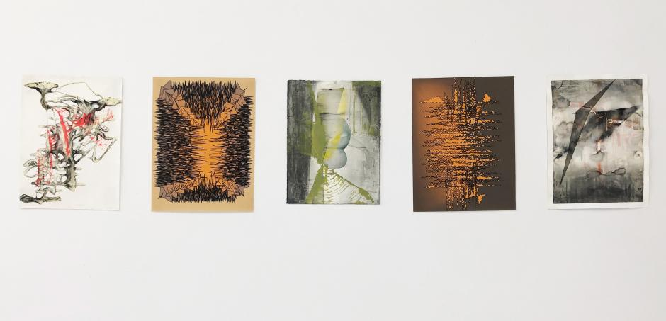 Jeffrey Bishop, 3 analogue and 2 vector drawings from his Banff Centre residency in 2020.