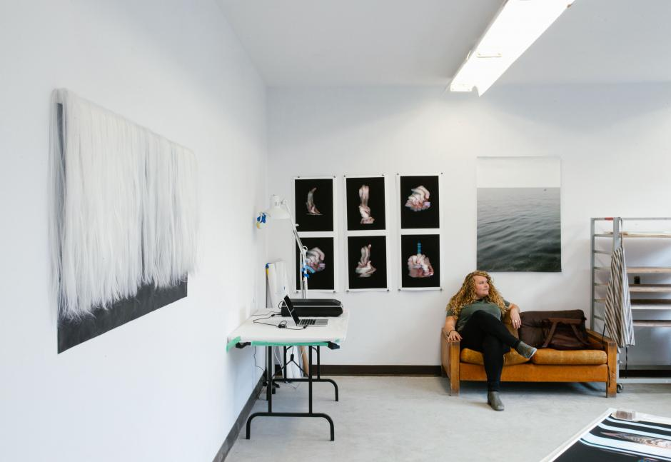 Molly Allen in her Banff Centre Studio with her artwork, 2020.