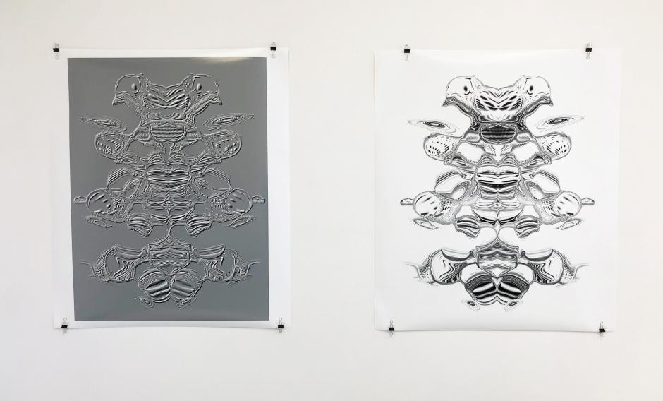 Jeffrey Bishop, two digital drawings from his Banff Centre residency in 2020.