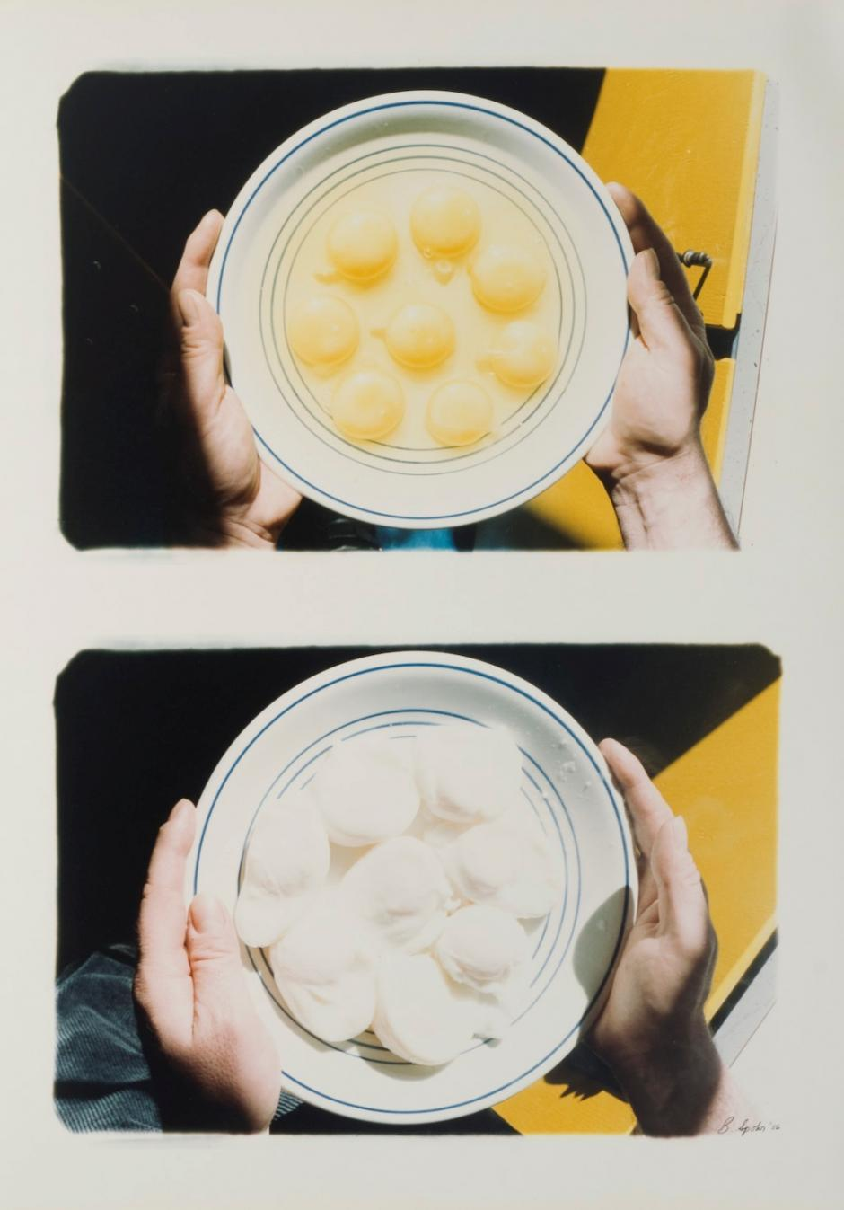 """Barbara Spohr, """"Diptych, Bowl of Eggs Raw then Cooked"""""""