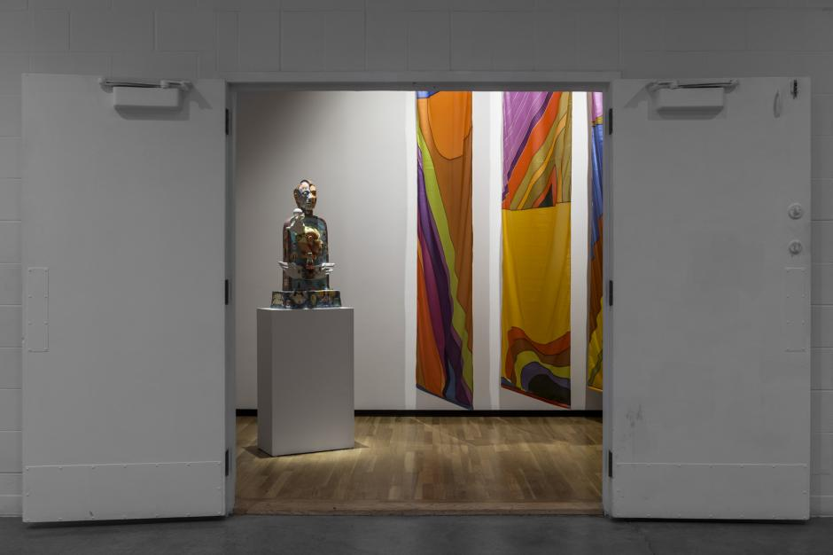 Installation view of Takao Tanabe, ``Untitled *3 Nylon Banners*`` (1978) and John de Fazio, ``PMS Tombstone`` (1996). Walter Phillips Gallery, Banff Centre. Photo by Meghan Krauss.