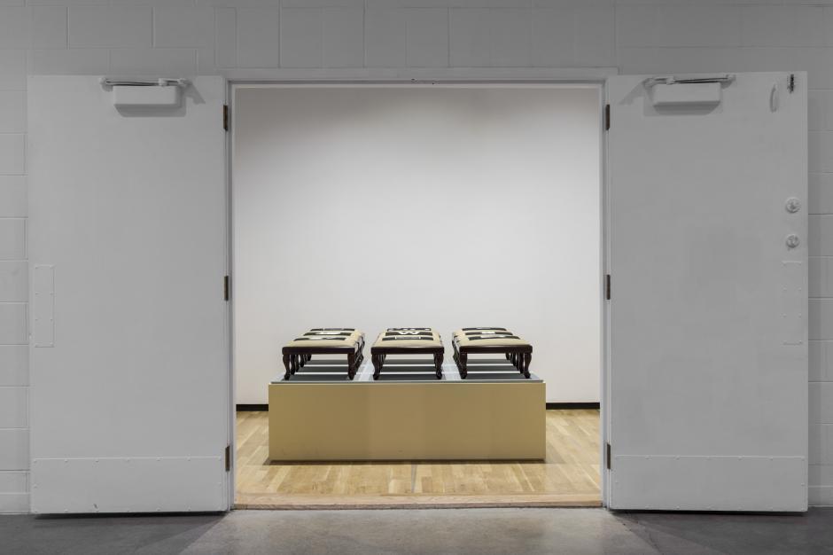 "Susan Schelle, ""Solitaire"" (1991). Wood, paint, needlepoint. 6"" x 5"". Walter Phillips Gallery, Banff Centre. Photo by Meghan Krauss."