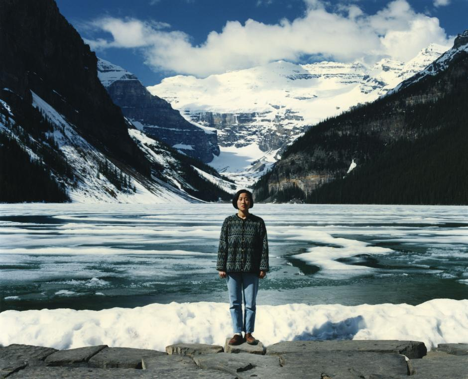 """Jin Me Yoon, """"Souvenirs of the Self (Lake Louise 91/96)"""" (1996). 72 x 92.5 cm, transmounted C-Print. Collection of Walter Phillips Gallery, The Banff Centre"""
