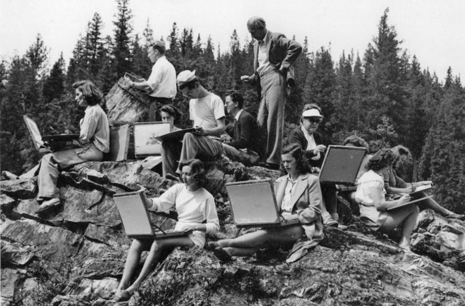 H.G. Glyde with art students, 1947. Courtesy Banff Centre archives.