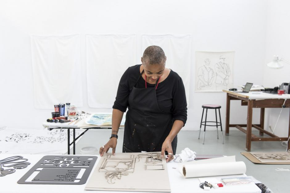 Elizabeth Burden in her studio during the Trainings for the Not-Yet residency.
