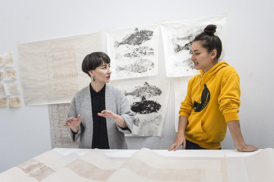 Curator Nicole Burisch in studio visit with Alexa Hatanaka during Craft as Contemporary Art program. Photo by: Don Lee.