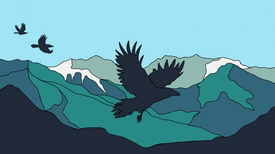 Design of Raven flying over blue and green mountains