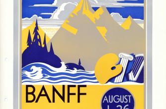 A poster for the Banff School of Fine Arts featuring an illustration of mountains