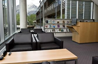 View of the seating area in the library
