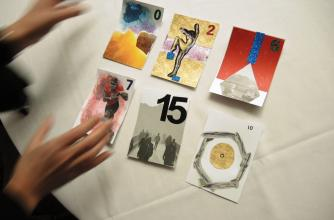 A set of tarot cards made by a workshop participant