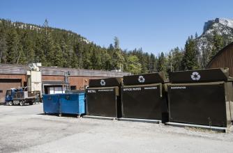 Waste management bins on campus