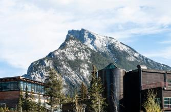 Campus with Mount Rundle in the background