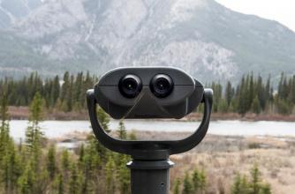 Binoculars overlooking mountains