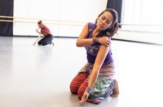 Asalia Arellano, dancer (right); and Kristy Janvier, dancer (left). Banff Centre Intercultural Indigenous Choreographers Creation Lab. Photo by Jessica Witmann.