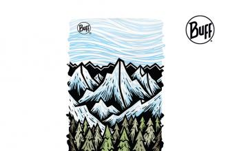 Buff head tube with artistically drawn sky, mountains, forest and ocean in descending order.