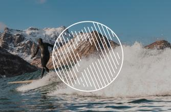 Globe icon overlays a surfing image.