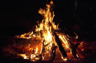 A roaring campfire with a black background.