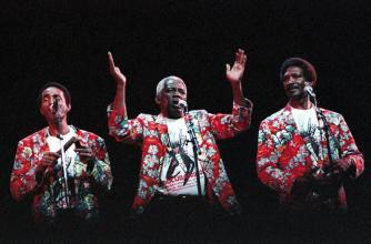 Afrocubanismo musicians wearing colourful red patterned shirts.