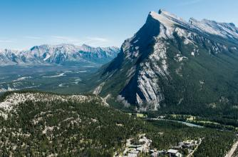Aerial view of Banff with Mount Rundle as a backdrop