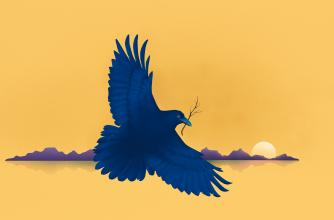 Graphic illustration of a raven flying through the sky carrying a berry.
