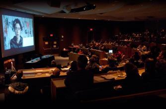 "Lori Waxmann via Skype at the ""Are Curators Unprofessional?"" symposium, 2010"