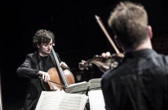 Brian O'Kane, cello, Navarra String Quartet, Third Place Laureates, 11th BISQC. Photo by Rita Taylor.