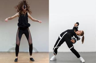 Contemporary dance is performed in two images, behaviour swarm open studio at Banff Centre.