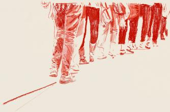 Red pastel  is used to create a detailed illustration of the lower half of a people walking in line single-file.