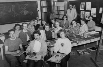 Black and white photo of a painting class at the public school, 1954, Banff Centre. Paul D. Fleck Library and Archives.