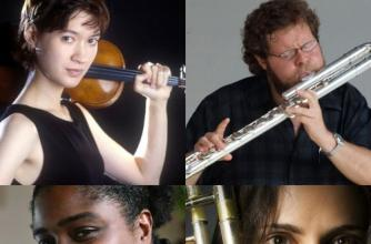 A collage of the musicians performing.