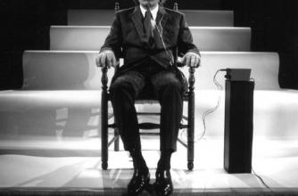 A black and white photo of musician Alvin Lucier sitting in a wood chair with what appear to be electric pulse nodes attached to his head under a cap.