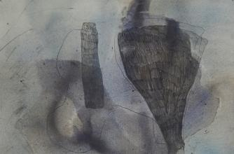 An abstract greyscale image that appear to involve pencil and watercolour.