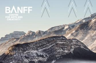 The sheer side of Sleeping Buffalo Mountain with a dusting of snow and Banff Centre graphics over the image.