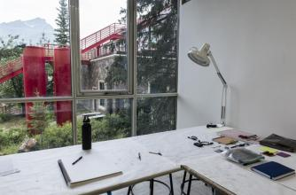 Artist Sandrine Schaefer's studio during the Banff Research in Culture residency, 2017.