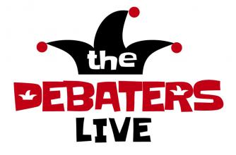 The debaters logo, a jesters hat with red and black lettering around it.