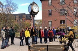 University of Prince Edward Island Chamber Singers on campus for their video shoot in Charlottetown, PEI.  November 1st, 2020.
