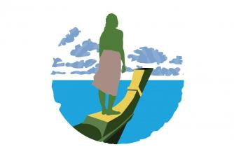 Graphic art of a pacific islander standing on the bow of a boat overlooking the sea.