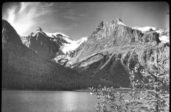 Black and white photo of Emerald Lake with Emerald Basin in the background.