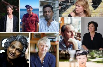 Collage of 9 Writers/authors speaking at Banff Centre, Banff National Park, Alberta: Yasuko Thanh, David O'Meara, Hoa Nguyen, Kathy Page, Romesh Gunesekera, Pasha Malla, Karen Solie, Shyam Selvadurai, and Caroline Adderson.