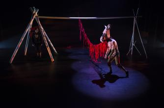 Indigenous artists on a stage