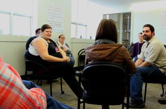 Elizabeth Birak hosts a community forum