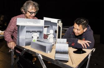 "Kid Koala (right) with part of his project ""Nufonia Must Fall"""