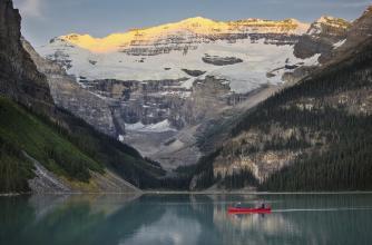 Canoeing on Lake Louise, Banff National Park.