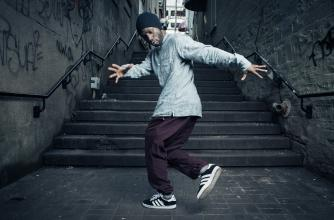 Street Dancer Crazy Smooth at bottom of staircase dancing